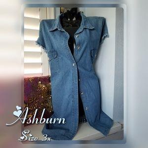 Blue Denim distressed Cut off Sleeves Dress